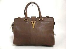 Authentic YSL Rive Gauche Gray-Beige Cabas Chyc Mini 297957 Leather Handbag