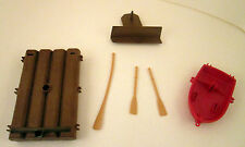Playmobil Pirate Ship Replacement Parts Boat W / Paddle Raft WILL SEPARATE