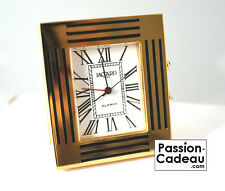 Alarm clock golden Jaccard Paris Made in France, brass with traits black