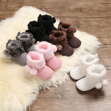 Baby Girl PomPom Booties Infant Warm Faux Fur Boot Child Snow Boot Newborn to 18