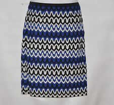 Linea by Louis Dell'Olio Knit Zigzag Pattern Pencil Skirt Size 6 Blue/white