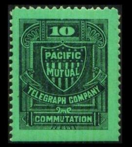 13T4 TELEGRAPH 10c Black On Grn PACIFIC MUTUAL COMPANY Mint HR SEE PHOTOS K-556