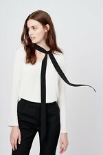 Cuyana silk crepe de chine black off white tie pussy bow blouse shirt top small