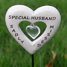 Special Husband Love Heart Sadly Missed Memorial Tribute Stick Graveside Plaque