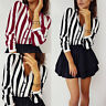 Women Striped Long Sleeve V-neck Loose Tops T Shirt Formal Casual Button Blouse