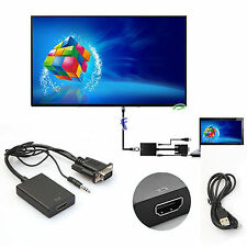 VGA Male To HDMI Output 1080P HD+ Audio AV HDTV Video Cable Converter Adapter XG