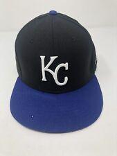 Black & Blue Kansas City Royals KC baseball Hat New Era size 7 3/8 59Fifty