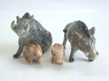 * High Quality Handmade Miniature Ceramic Boar Wild Pig Family Figurine *