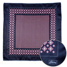 Men's BRIONI Black Red Floral Silk Hand Made Rolled Pocket Square Handkerchief