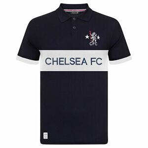Chelsea FC Mens Polo Shirt Retro Cut & Sew Blue OFFICIAL Football Gift
