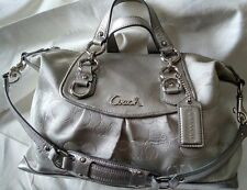 COACH Ashley Silver Metallic Sateen Garden Butterfly Convertible Satchel Bag