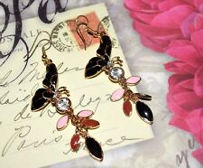 STUNNING MULTI-STONE BUTTERFLY EARRINGS 3 INCHES LONG