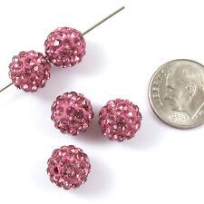 Shamballa Rhinestone Clay Pave Round Beads-MEDIUM ROSE PINK 10mm (5)