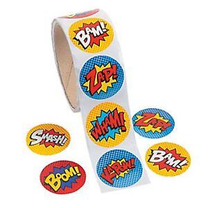 SUPERHERO PARTY Stickers Super Hero Kapow Zap Boom Bam Pack of 50 Free Postage