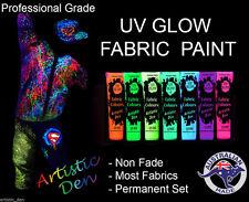 UV Neon Glow Fabric Paint & Glow In The Dark Fabric Paint UV Neon 7 x 50ml