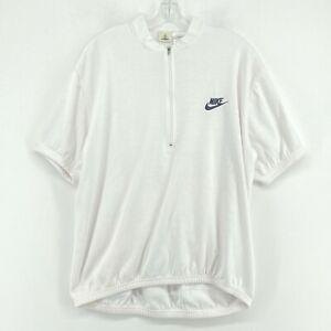 Vintage Nike ACG Cycling Jersey Mens Large White 1/4 Quarter Zip Short Sleeve