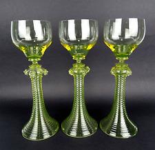 3 Römer Beeren Nuppen, Uranglas, Weinglas, uranium glass Regenhütte 1890-1900