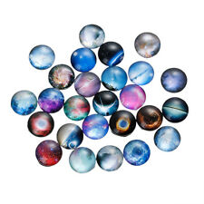 10mm (3/8 inch) - 10 pcs. Circle Galaxy Round Glass Dome Seals Tiles Cabochons