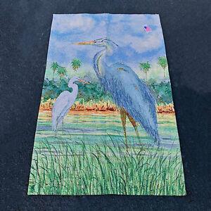 Heron II ~ Blue Heron in Tropical Marsh Grande Tapestry Wall Hanging