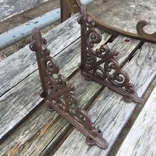 A Pair Antique Style Cast Iron Brackets Garden Braces Rustic Wall Shelf Bracket