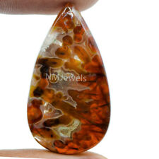 Cts. 35.80 Natural Orange Turkish Stick Agate Cabochon Pear Cab Loose Gemstone