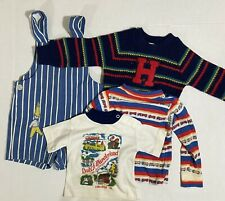 Vtg Boys Lot Of 4 Healthtex Sweater Denim Romper Shirts Size 9 Mos-3T 70s
