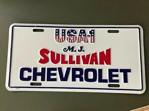USA-1 Chevy Chevrolet Dealership License Plate MJ Sullivan