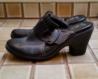 Born Concept BOC Black  Slip On Mule Clogs Heels Buckle Accent Womens Size 9.5M