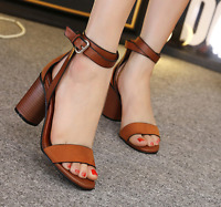 Womens Block Heel Ankle Strap Sandals Buckle Open Toe Party New Shoes Size 4.5-8