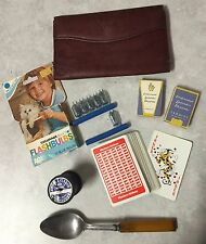 Lot of VINTAGE GOODIES - Spool, Compressed Lavender, Spoon, Wallet, Cards, etc
