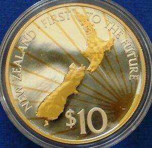 New Zealand 10$ Silver Proof 2000 Millennium Gold Plated Map Radiant Sun