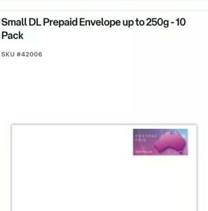 Australia Post Prepaid Envelope Up To 250g Weight - Pack of 10 (Small DL)