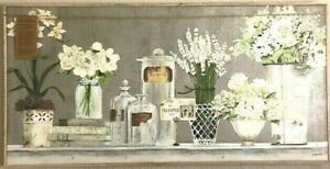 "KATHRYN WHITE CURATED COLLECTION GLICEE CANVAS FRAMED ART- FLOWERS & VASES- 47""L"
