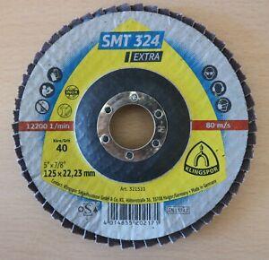 "Klingspor SMT 324 Abrasive Flap Mop Discs 125mm x  22.23mm / 5"" 40G, 60G, 80G"