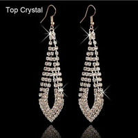 Fashion Women's Rhinestone Crystal Ear Hook Drop Dangle Earrings Jewelry Gift