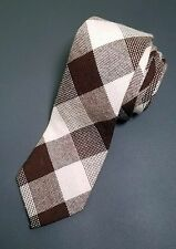 "WOOLRICH Neck Tie, Wool, Plaids, Brown, Beige 3 1/4"""