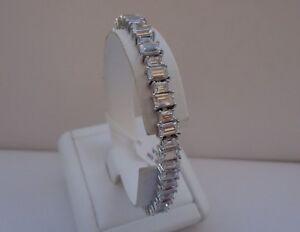 925 STERLING SILVER LADIES TENNIS BRACELET W/ 40 CTS  BAGUETTE  DIAMONDS /7 1/2