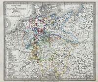 MAP ANTIQUE PERTHES 1862 GERMAN CONFEDERATION LARGE REPLICA POSTER PRINT PAM1162
