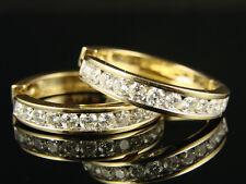 14K Ladies Yellow Gold Round Cut Si Diamond Hoops Earrings 2.0 Ct