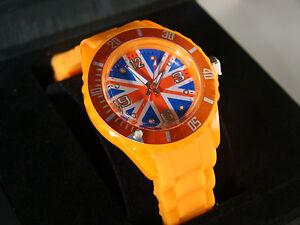 Montre Femme / Enfant Bracelet Silicone drapeau union jack UK anglais orange