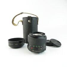 Minolta MD Rokkor 1:2/85mm Objektiv lens + hood, caps und case