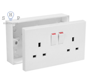 SHP Electrical 2 Gang Twin Double Switched Wall Socket 25mm Surface Pattress Box
