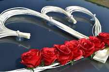 wedding car decoration ribbon bows prom limousine decoration HEARTS red roses