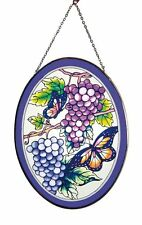 "Suncatcher Butterfly with grapes Design 9"" oval"