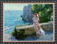 "Hand-painted Oil painting art Original Impressionism girl sea on Canvas 30""X40"""