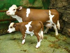 "Retired Schleich Simmental Cow Calf Figurines for 3.5"" Nativity Farm Pesebre"