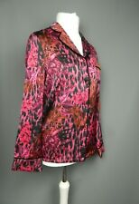 GUESS Pink Blouse Small Size 10 Pyjama Style Tropical Print Velvet Trim RRP £77