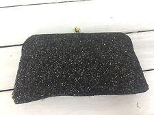 Vintage Black Glitter Clutch Bobbie Jerome Party Kiss Clasp Peach Stain 60s