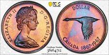 1967 CANADA GOOSE SILVER DOLLAR PCGS PL66 UNC MONSTER TONED GEM COLOR (DR)