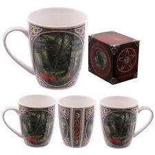 """LISA PARKER """"BLACK CAT ON SPELL BOOKS"""" WICCA GOTHIC MUG,CUP"""